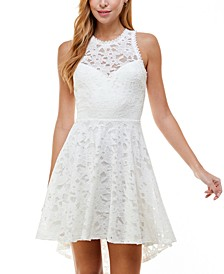 Juniors' High-Low Lace Fit & Flare Dress