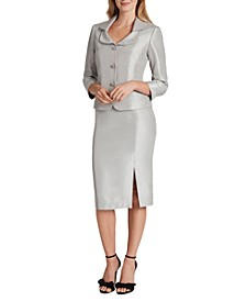 Collared Three-Button Skirt Suit