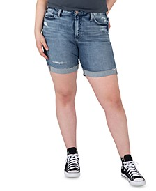 Trendy Plus Size Sure Thing High-Rise Long Jean Shorts