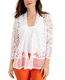 Burnout-Pattern Mesh-Hem Cardigan, Created for Macy's