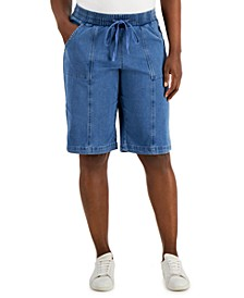 Petite Pull-On Denim Shorts, Created for Macy's