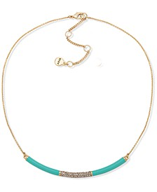 """Gold-Tone Turquoise-Colored Crescent Frontal Necklace, 16"""" + 3"""" extender"""