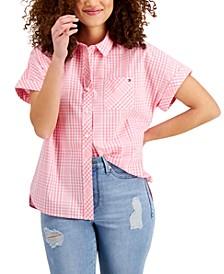 Plaid Button-Up Cotton Shirt