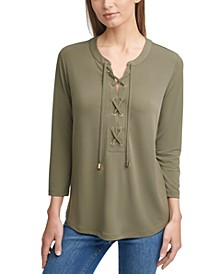 Solid 3/4-Sleeve Lace-Up Top