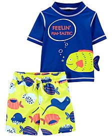 Toddler Boys Fin-Tastic Rashguard Set, 2 Piece