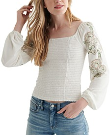 Ruched Square-Neck Top