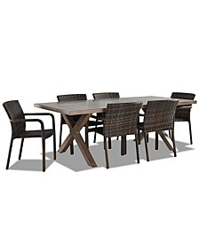 """Crossroads Outdoor Aluminum 7-Pc. Dining Set (86"""" x 42"""" Rectangle Dining Table & 6 Arm Chairs)"""