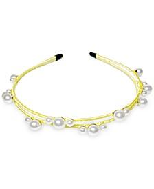 INC Gold-Tone Imitation Pearl Satin-Wrapped Double-Row Headband, Created for Macy's
