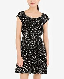 Juniors' Smocked Floral-Print Top & Skirt