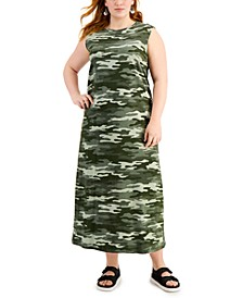 Plus Size Cotton Knit Camo-Print Maxi Dress, Created for Macy's