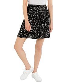 Juniors' Smocked-Waist Floral-Print Skirt