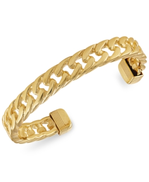 Curb Link Cuff Bangle Bracelet in 18k Gold-Plated Sterling Silver