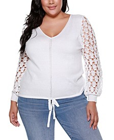 Black Label Plus Size Long Crochet Sleeve V-Neck Pullover