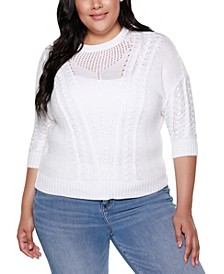 Black Label Plus Size 3/4 Sleeve Pullover