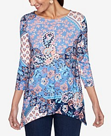 Plus Size Knit Mix Print Top