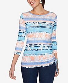 Plus Size Knit Stripe Ruch Top