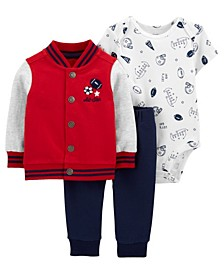 Baby Boys Varsity Little Jacket Set, 3 Pieces