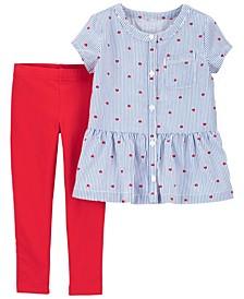 Baby Girl Heart Peplum Top and Legging Set