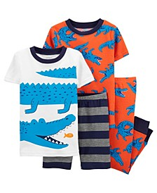 Baby Boys Alligator Pajama Set, 4 Pieces