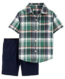 Baby Boys Plaid Shirt and Short Set, 2 Pieces