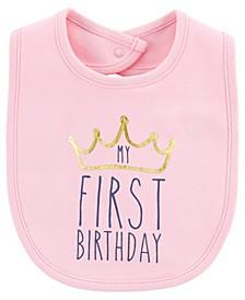 Baby Girl My First Birthday Teething Bib