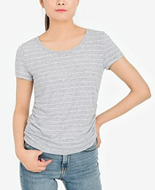 Juniors' Striped Ribbed T-Shirt