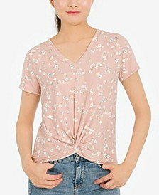 Hippie Rose Juniors' Twist-Front Floral-Print Top