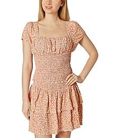 Juniors' Floral-Print Smocked Flounce Skirt