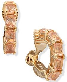 Gold-Tone Stone Clip-On Hoop Earrings
