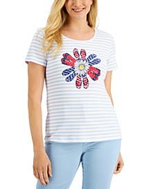 Petite Flip-Flop-Print T-Shirt, Created for Macy's