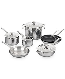 Mirror-Finish Stainless Steel 12-Pc. Cookware Set