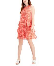 Printed-Chiffon Tiered A-Line Dress