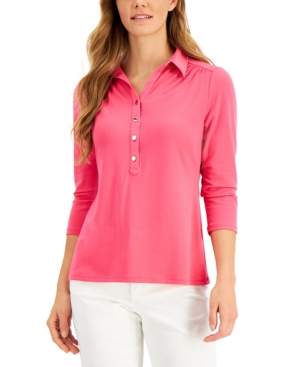 Charter Club Cottons KNIT POLO SHIRT, CREATED FOR MACY'S