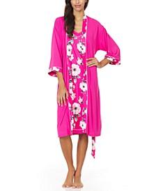 Alta Chemise Nightgown & Robe 2pc Pajama Travel Set