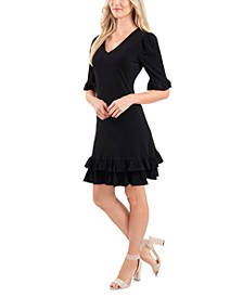 V-Neck Ruffled Dress