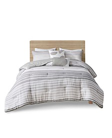 Hayes King/California King Woven Stripe Cotton Gauze Comforter, Set of 5