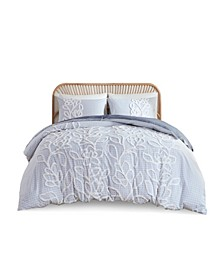 Aitana King/California King Tufted Cotton Chenille Comforter, Set of 3