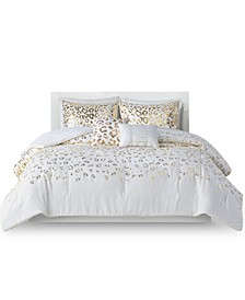 Lillie King/California King Metallic Animal Printed Comforter, Set of 5