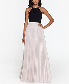 Petite Metallic-Skirt Halter Gown