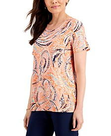 Petite Printed Jacquard Short-Sleeve Top, Created for Macy's