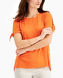 Mixed-Media Tied-Sleeve Top, Created for Macy's