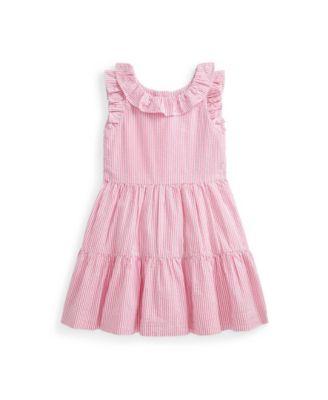 폴로 랄프로렌 Polo Ralph Lauren Little Girls Gingham Seersucker Dress,Pink/White