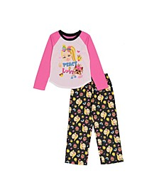Little and Big Girls 2 Piece Peace and Love Pajama Set