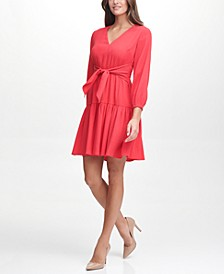 Tie-Front Fit & Flare Dress