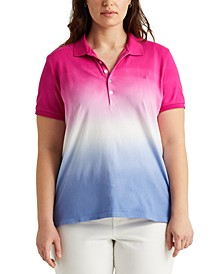 Plus Size Dip-Dyed Polo Top