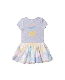 Toddler Girls Short Sleeve Graphic Tutu Dress