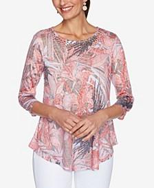 Petite Knit Embellished Floral Top