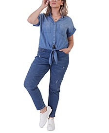 Plus Size Chambray Tie-Front Shirt