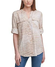 Printed Tab-Sleeve Shirt