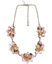 "INC Rose Gold-Tone Imitation Pearl 3D Flower Statement Necklace, 18"" + 3"" extender, Created for Macy's"